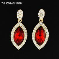 2014 New High Quality Colour Crystal Earrings Luxury Brand Women Rhinestone Drop Earrings