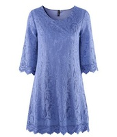 European Style Woman Lace hollow out Mid-calf Slleve O-neck dress fashion mini paty dress