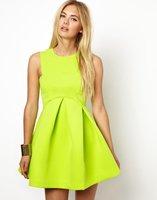 2014 New Summer Candy Color Green Round Neck Sleeveless Ruffle Flare Dress Women Summer New Design Sundress Tunics Gowns
