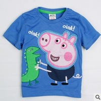 Retail!Free shipping C3636# 2014 new Boys Short Sleeve Peppa Pig 100%Cotton T-Shirt with Embroidery Children Clothing Boys Baby