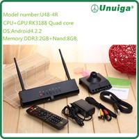 U48-4R Android tv box Quad Core Android 4.4.2 RK3188 Cortex-A9 TV BOX HDMI Player 2G/8G Dual Antenna