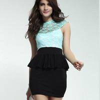 2014 New Fashion OL women work wear Lace Hollow-out Ruffled Backless Faux Twinst office dress