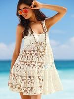 Sexy Lace Crochet Perspective Beach Dress Summer Women flowers Hollow Out Tank Mini Dresses