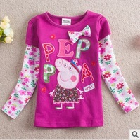 FREE SHIPPING F4103# kids wear girls tunic top peppa pig embroidery for children girl dress long sleeve bowknot T-shirt clothing