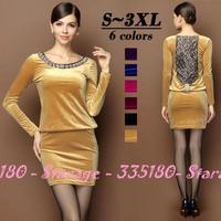 S-XXXL Brand Sexy Diamond Beaded Velvet Lace Hollow Back Dersses 2014 Autumn Winter Fashion Plus Size Women Clothing 3010