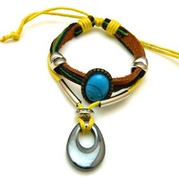 Hot fashion antique cow leather bracelet Braided leather Turquoise charms bracelet of water drop Men jewelry