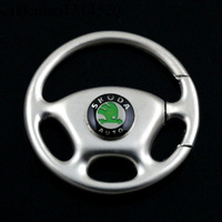 Free shipping steering wheel model Skoda car standard keychain key ring 4S shop car key chain gifts gift men lady Christmas