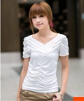 2014 New High Quality Slim fold design fashion ladies short sleeve V-neck women T-shirt clothing all match Tops & Tees