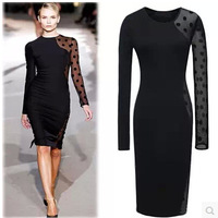 2014 new Autumn and winter fashion sexy dot lace patchwork long-sleeve bandage dress basic slim hip party dresses vestido