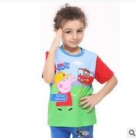 Retail! Free Shipping 2014 Summer Peppa Pig Clothing Fashion Baby Boys T shirt Printed George Pig Children Clothes Kids Clothing