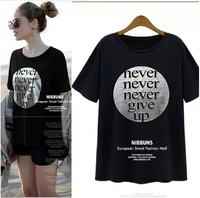 Fertilizer plus-size 2014 European and American fat younger sister easy large-sized T-shirt woman with short sleeves
