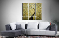 3 piece abstract modern canvas wall art handmade picture Golden peacock oil painting on canvas bedroom living room decoration