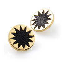 House of harlow sunburst earrings with black leather