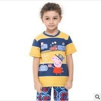 Retail! Free shipping Nova kids brand wear tunic top peppa pig t-shirt with embroidery boy short sleeve C4451# 18m/6y