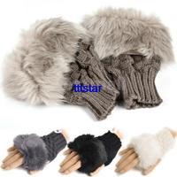 Fashion Women Winter Arm Warmer Fingerless Gloves, Knitted Fur Trim Gloves Mitten 8226