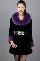 2014 New Arrival Luxury Women's Winter Warm Genuine Fox Fur Collar Long Rex Rabbit Fur Coat A011C , EMS Free Shipping