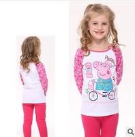 Retail! Free shipping F4323# New Arrive Nova kids wear baby girls long sleeve peppa pig T-shirt fashion style cotton t-shirts