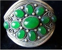Ethnic Tribal Green JADE Cluster Women Men Tibet Silver Bangles Open Bracelet Free Shipping