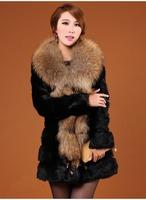 2014 Winter New Arrival Women's Luxury Raccoon Dog Fur Collar Long Sleeve Rabbit Fur Coat A015C , EMS Free Shipping