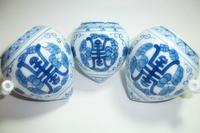 ES036 Jingdezhen China ceramic bird feeder cup,Hand painted, heart shape,Tuanshou design,3Pcs one sets