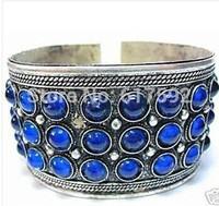 Beautiful Carved Tribal Blue JADE Women Men Tibet Silver Bangles Open Bracelets Free Shipping