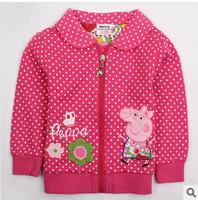 Retail! peppa pig jacket 2014 fashion nova kids beautiful cartoon and flowers zipper baby girls cotton causal hoody jacket