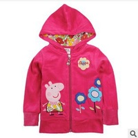 Retail! F4356# 2014 new fashion nova beautiful peppa pig and flowers embroidery baby girl spring autumn new hoody jacket