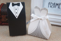 Hot Sale Bride and Groom Box !!! Free Shipping 100pcs Bride and Groom Wedding Favor Boxes Gift box Candy box