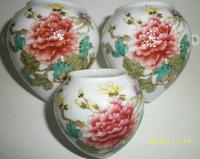 ES038 Jingdezhen China ceramic bird feeder cup, heart shape,Peony flowers design,3Pcs one sets