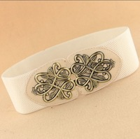 New arrive Fashion delicate belts carve flower wide elastic belt for women apparel accessories Free shipping