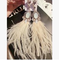 2014Thailand tide brand 77  th gem tassel feather earrings super beauty spot long tassels eardrop female fashion stud earrings