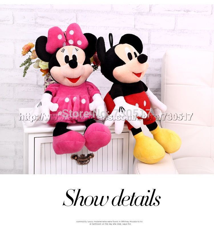 "2Pcs/Lot 30cm High(12"") Mickey Mouse Minnie Mouse Plush Stuffed Toys Girls Brinquedos Kids Baby Gift KF467S(China (Mainland))"