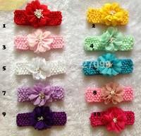 New Arrival Chiffon Flower WIth 1.5inch Crochet headband Baby hairband Mix Color  40pcs/Lot