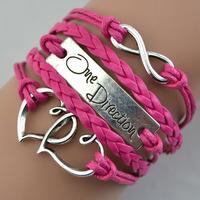 Promotion Rose Leather Braid infinity bracelet Fit Double Hearts Alloy One Direction Bracelet Wraps