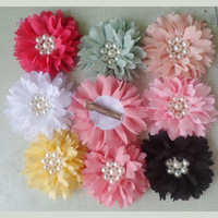 Wholesale big 8cm chiffon hair flower with clip on the back suit for headband flowers free shipping 60pcs/lot