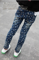 2014 autumn small girl clothing dot cartoon washes feet denim pencil pants elastic wave