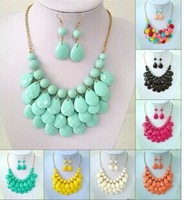 ZH0936 10 Colors Bib Bubble Statement Necklace 2014  Fashion Chokers for Women Jewellery Acrylic Beaded Necklaces with Earrings