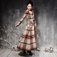 winter wool coat women 2014 plaid coat stand collar coat with belt 2014 fashion women's coats autumn winter slim coat