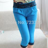2014 South Korea Fashion brand New women Stretch lace black stitching leggings Lady Large size 7 minutes of pants Free shipping
