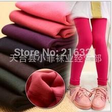 The children's winter nap brushed velvet pantyhose leggings thick warm leggings girls pants(China (Mainland))
