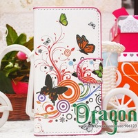 1pcs Butterfly Sakura Flower Flag Flip stand holder card wallet Pouch leather bag case skin cover For Alcatel One Touch Pop C3