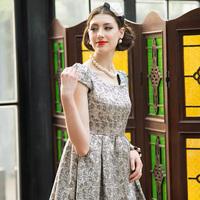 autumn fashion women's elegant vintage elegant jacquard short-sleeve dress slim