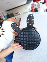 FREE  SHIPPING 2014 Rabbit Ear Bag Round Package Rhombus Rivet rabbit Bag One Shoulder Mini Cross-Body Small Bags