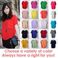 20 Style Chioce Blusas Femininas 2014 Women Candy Color Transparente Chiffon Blouse Top Short Sleeve Sexy T Shirt
