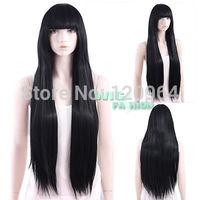 Long Straight Black with Bangs Hair Wig Costume Natural Kanekalon no Lace Front hair wigs Free deliver