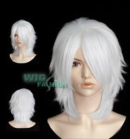 White Cosplay Anime Short Stylish Hair Wig Natural Kanekalon no Lace Front hair wigs Free deliver