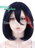 Kill LA Kill Ryuko Matoi Short Straight Dark Blue Mixed Red Cosplay Wig Natural Kanekalon no Lace Front hair wigs Free deliver