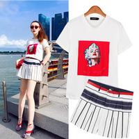 A355  XL-5XL Plus Size European Style 2014 New Summer Fashion Figure Printed T-shirt Striped Shorts Fresh Women's Clothing Sets