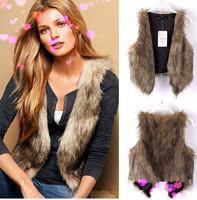 New 2104 Fashion Winter Coat Women Free shipping Winter Sleeveless Warm Women Faux Fur Short Vest Jacket Waist Coat Fur Coat E76
