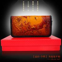 Hong Kong OLG.YAT Handmade leather carving guanyin wallet  zipper clutch hand bag retro style wallet  women Multi-function purse